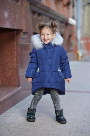Зимняя куртка для маленьких девочек синего цвета