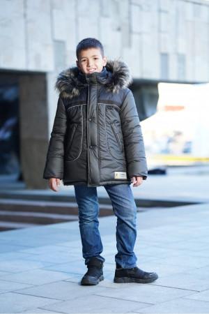 Зимняя куртка для мальчиков с пушистым капюшоном (хаки)