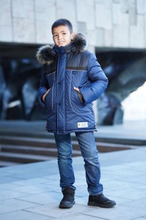 Зимняя куртка синего цвета для мальчиков с пушистым капюшоном