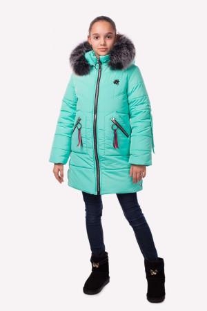 Зимняя куртка для девочек с пушистым капюшоном мятного цвета