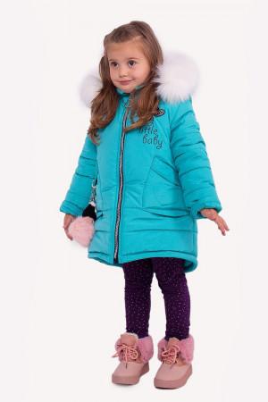 Зимняя куртка для маленьких девочек бирюзового цвета