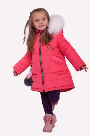 Зимняя куртка для маленьких девочек кораллового цвета