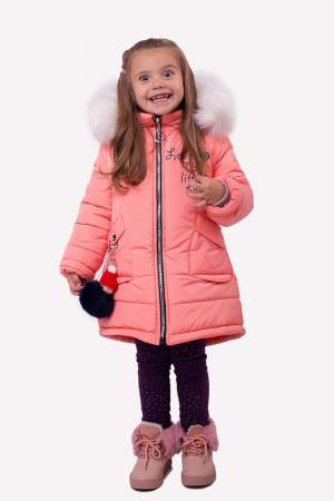 Зимняя куртка для маленьких девочек цвета персик
