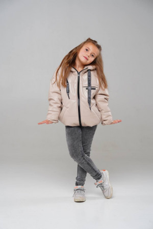 Стильна демісезонна куртка бежевого кольору для дівчаток