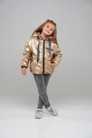 Демісезонна куртка з еко-шкіри кольору золото для дівчаток