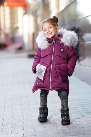 Бордова зимова куртка для дівчаток з накладними кишенями