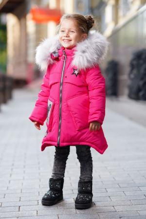 Зимняя куртка с пушистым капюшоном для девочек малинового цвета