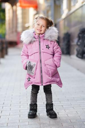 Зимняя куртка с пушистым капюшоном для девочек цвета орхидея