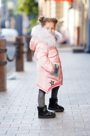 Зимняя куртка с пушистым капюшоном для девочки персикового цвета