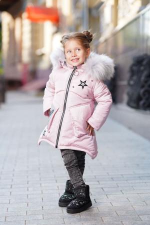 Зимняя куртка с пушистым капюшоном для девочек цвета пудра
