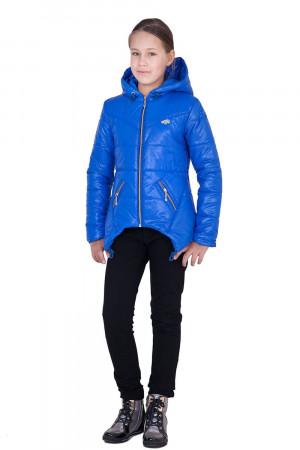 Дутая демисезонная куртка для девочек цвета электрик