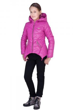 Дутая демисезонная куртка для девочек цвета фуксия