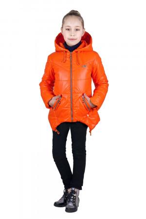 Дутая демисезонная куртка для девочек оранжевого цвета