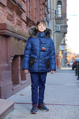 Синяя зимняя куртка для мальчиков с меховым капюшоном