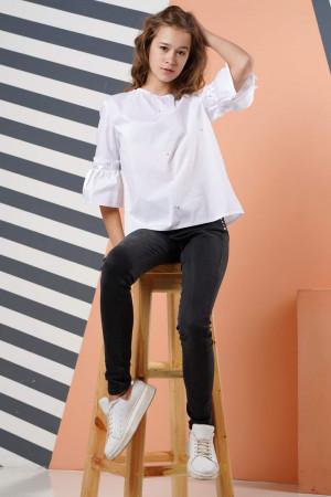 Белая свободная школьная блузка для девочек