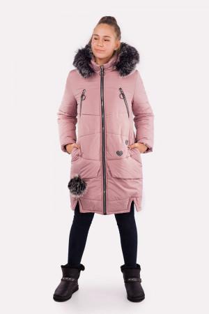 Длинная зимняя куртка для девочек кремового цвета
