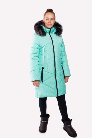 Зимняя удлиненная куртка мятного цвета для девочек