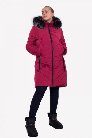 Вишневая удлиненная зимняя куртка для девочки
