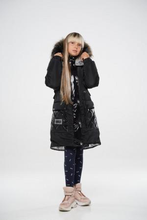 Стильная зимняя куртка для девочек черного цвета