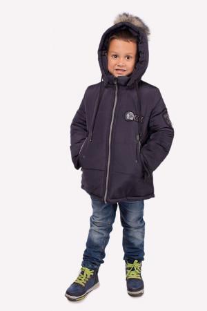 Зимняя куртка графитового цвета с капюшоном для мальчиков