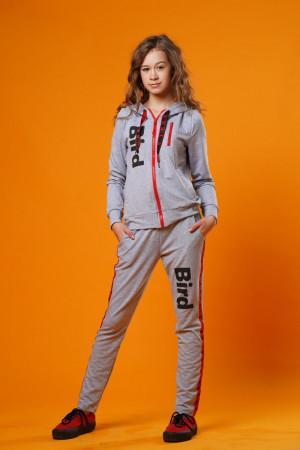 Стильный спортивный костюм для девочек светло-серого цвета