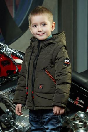 Демисезонная куртка с капюшоном цвета хаки для мальчиков