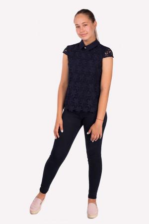 Мереживна синя блуза для дівчинки
