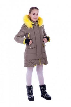 Зимова стьобана куртка для дівчаток кольору хакі з контрастним капюшоном