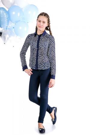 Школьная блузка для девочки синего цвета