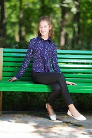 Синя блуза для дівчинки з принтом
