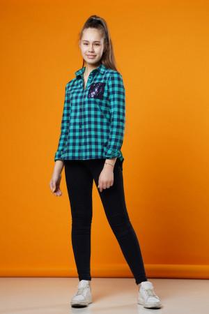 Рубашка в клетку бирюзового цвета для девочек