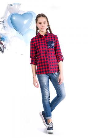 Рубашка в клетку красного цвета для девочек