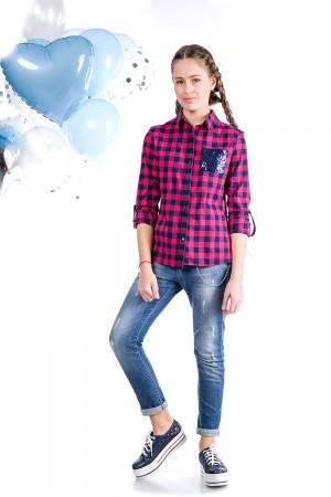Рубашка в клетку малинового цвета для девочек