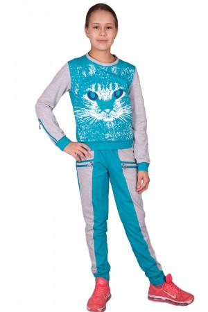 Спортивный костюм для девочки с принтом кошки бирюзового цвета
