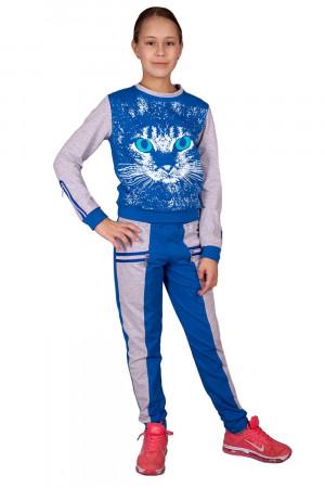 Спортивный костюм для девочек цвета электрик с принтом