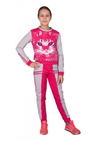 Малиновый спортивный костюм для девочек с принтом