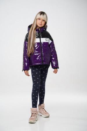 Дутая фиолетовая демисезонная куртка для девочек