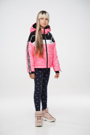 Дутая розовая демисезонная куртка для девочек