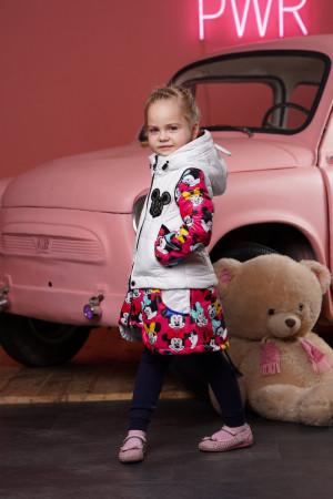 Демисезонная куртка-трансформер малиново-белая для девочек