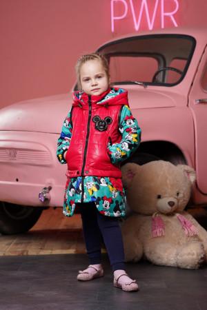 Демисезонная куртка-трансформер зелено-ягодная для девочек