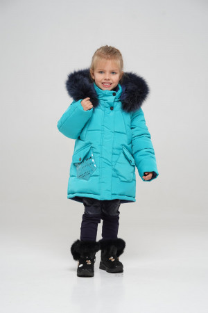 Бирюзовая зимняя куртка для девочек