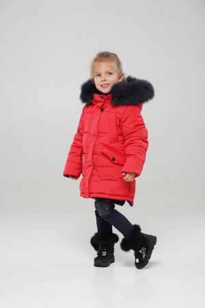 Малиновая зимняя куртка для девочек