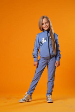 Стильный спортивный костюм для девочек лазурного цвета