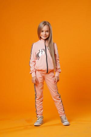 Стильный спортивный костюм для девочек цвета пудра