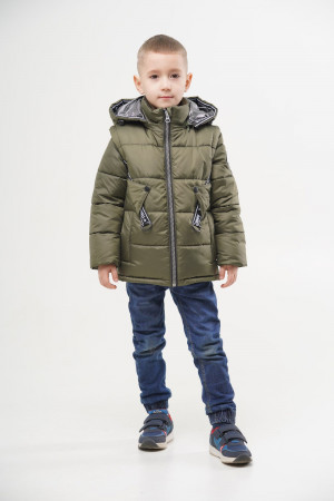 Демісезонна куртка кольору хакі з відстібним рукавом для хлопчиків