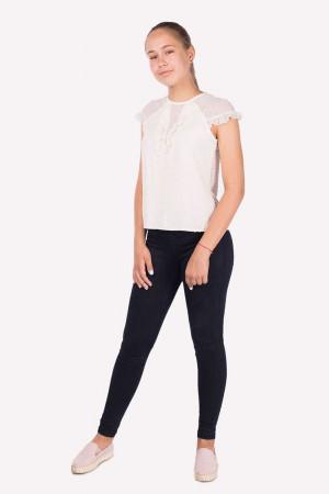 Шкільна  блузка для дівчинки молочного кольору, шифон