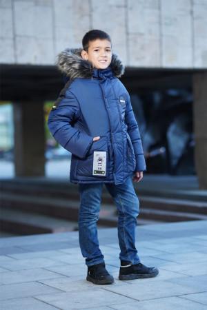 Удлиненная синяя зимняя куртка для мальчиков