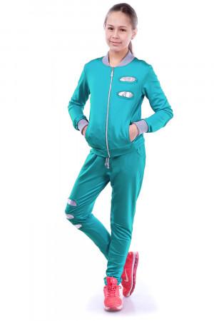 Спортивный костюм для девочек мятного цвета с пайетками