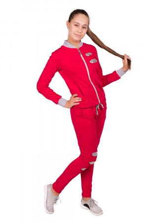 Спортивный костюм для девочек ягодного цвета с пайетками