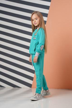Бирюзовый спортивный костюм для девочек с пайетками